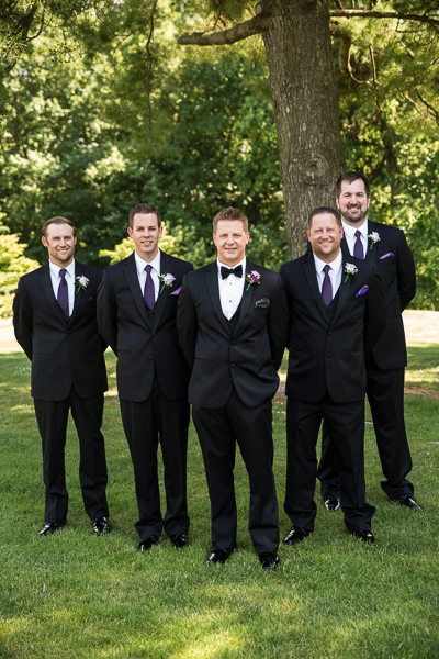 Groom and groomsmen 'V' group shot on grounds at Deerfield