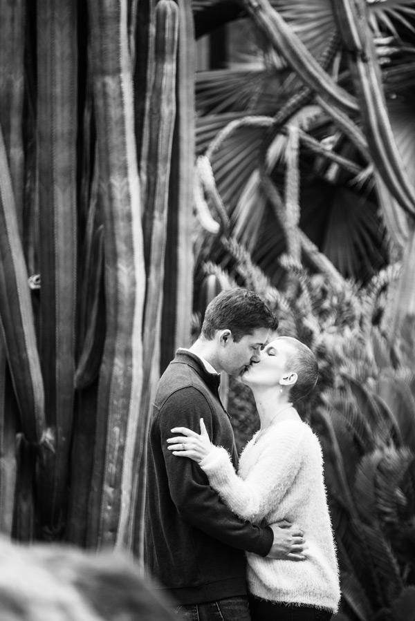 black and white image of engaged couple kissing surrounded by tall plants