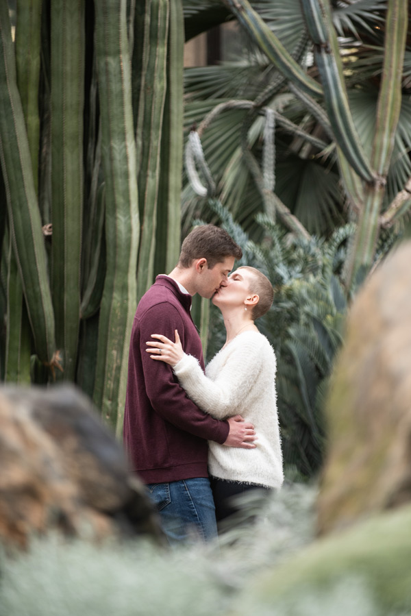 guy and girl kiss by a tall cactus