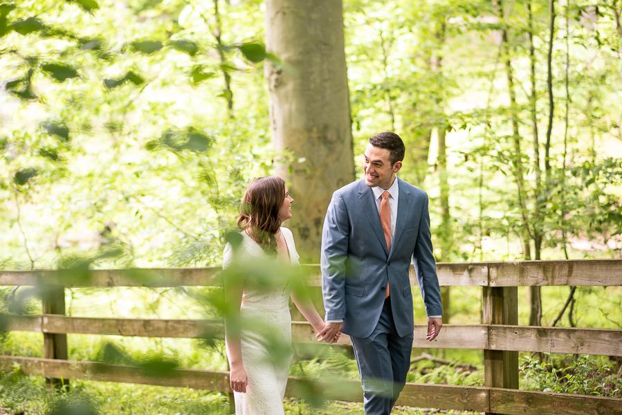 Bride and groom walking before Delaware wedding