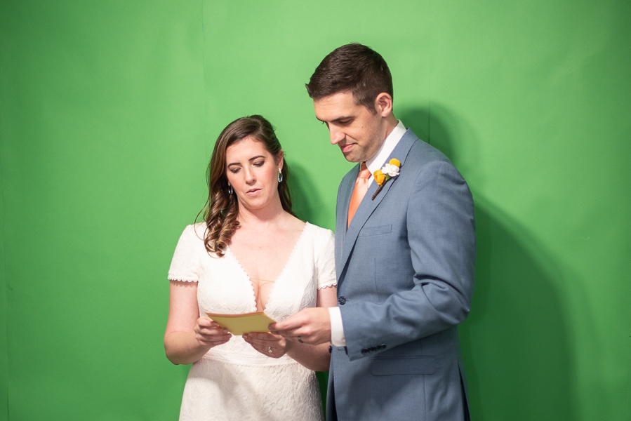 Intimate Delaware wedding green screen