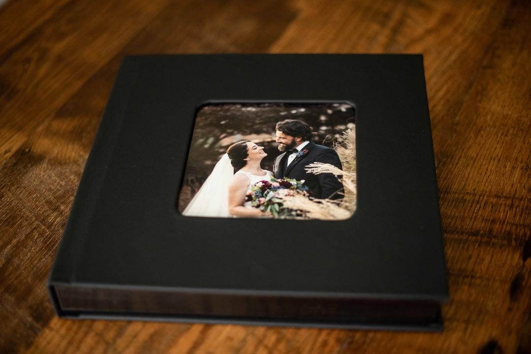 Wedding album with photo on front
