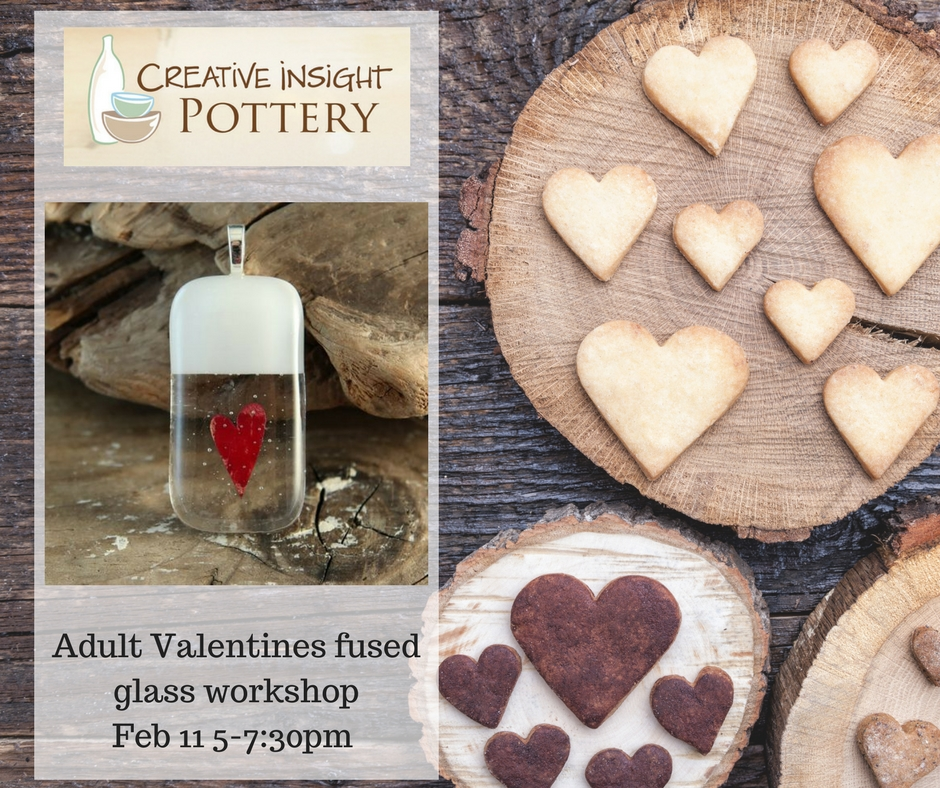 Adult Valentines fused glass workshop