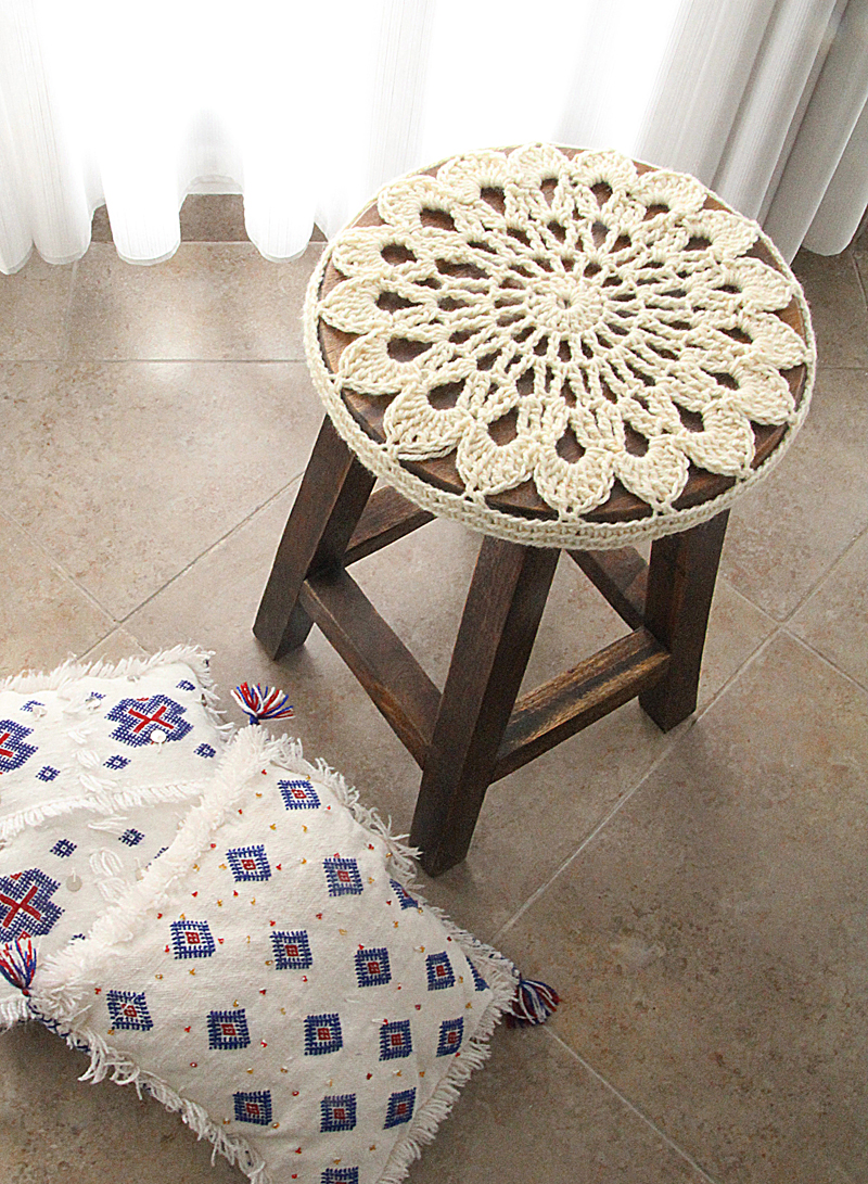 Chair Cover Patterns Crocheted Doily Stool Cover Pattern Go For It Creative Jewish Mom