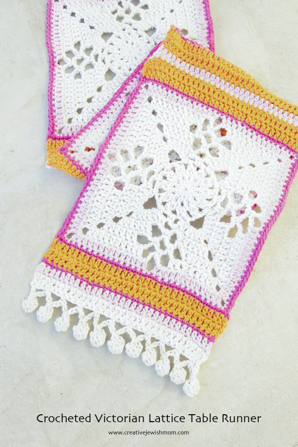 Crocheted Victorian Lattice Tablerunner  creative jewish mom