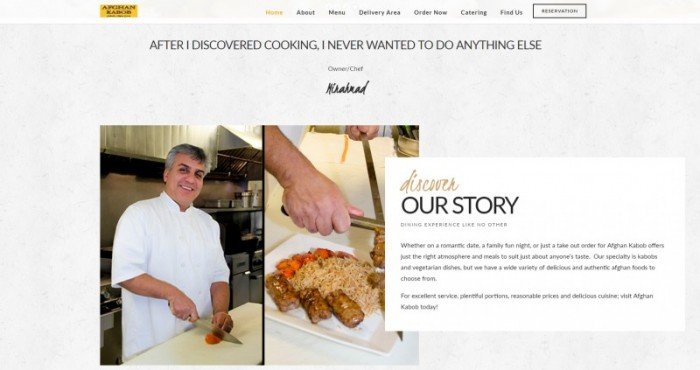 Restaurant Afghan Kabob Website