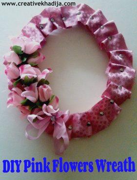 DIY Pink flower wreath making
