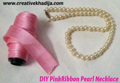 pinkribbon pearl necklace diy1