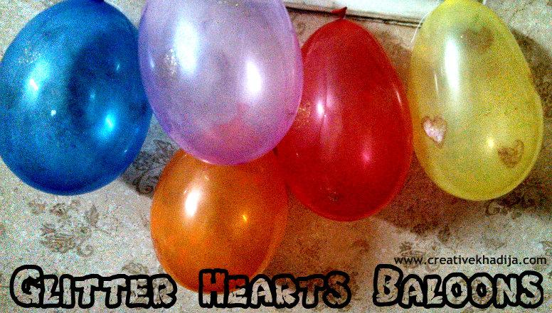 glitter hearts baloons making