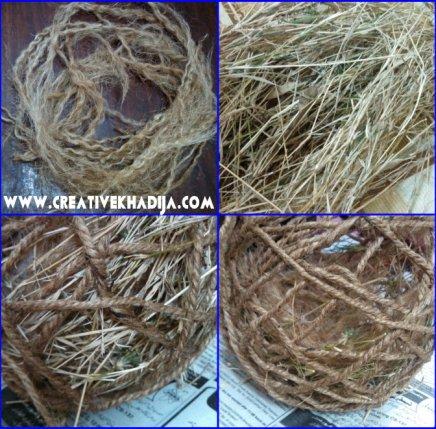 jute nest with grass