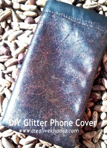 diy leather pouch with glitter