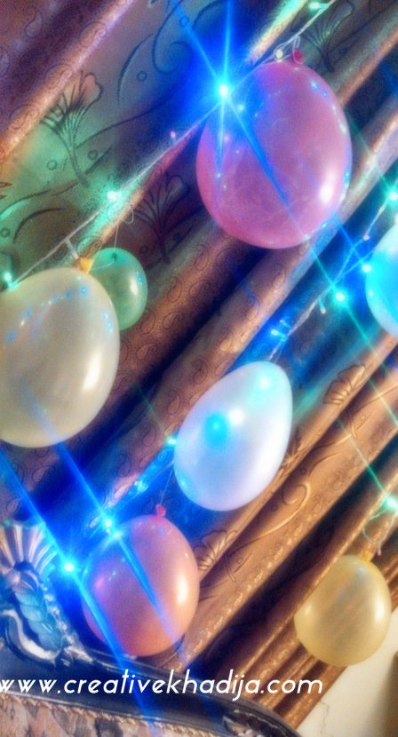 birthday balloons and lights