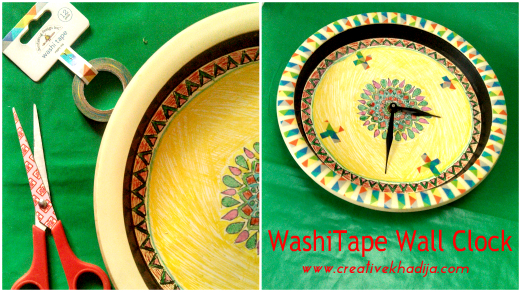 How To Design A Plain wallClock With Colorful Washi Tape