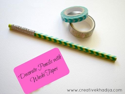 Washi Tape Covered Pencil-Azadi Crafts Series