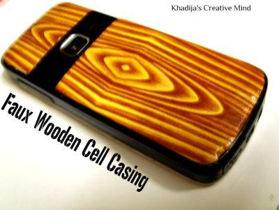 faux decoupage wooden phone casing DIY