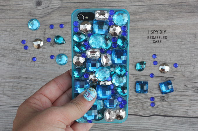 DIY bedazzled phone cover