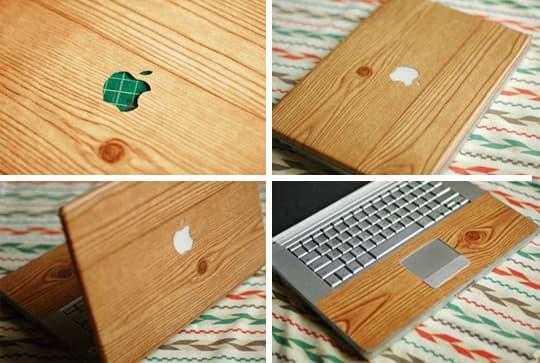 DIY wood grain laptop cover