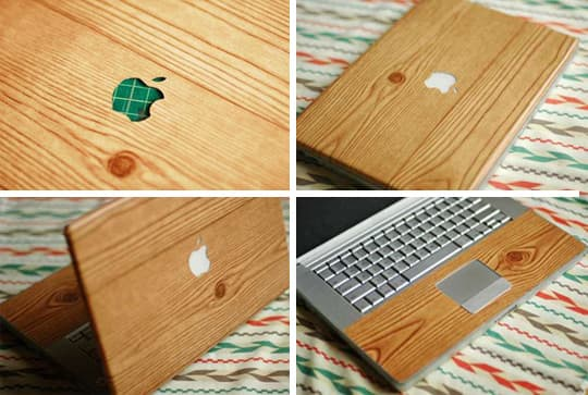 DIY wood grain laptop cover