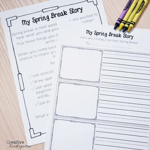 Easy spring break or march break writing prompt for kindergarten homework activity