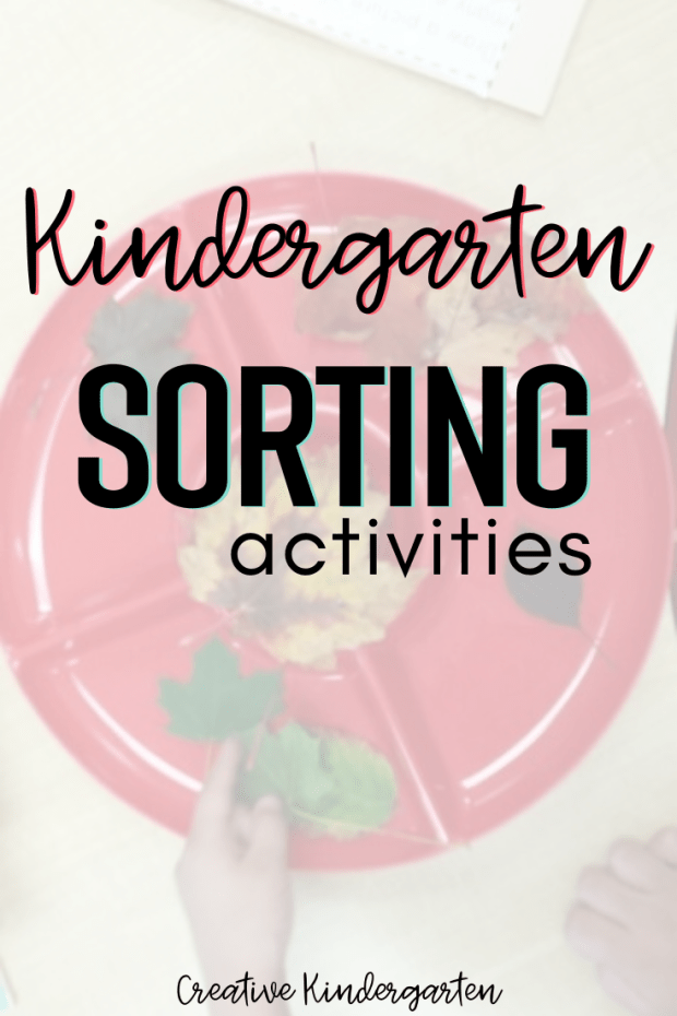 Kindergarten sorting activities for reinforcing sorting by color, type or size. Easily teach sorting in kindergarten with these easy and engaging math centers.