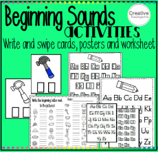 Beginning Sounds Write and Swipe Cards and Worksheets square preview