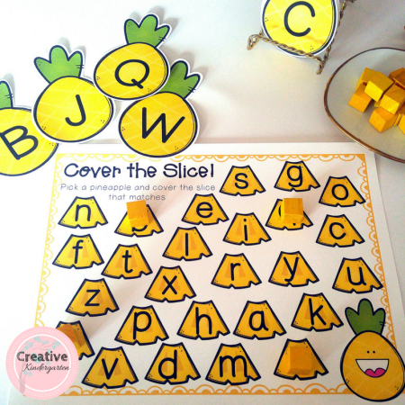 Reinforce letter recognition with these hands-on a pineapple literacy activity for kindergarten.