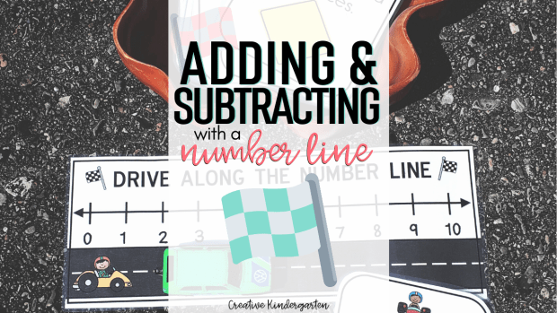 Number line for adding and subtracting math activity for kindergarten. Learn how to use a number line with this hands-on and fun math center.