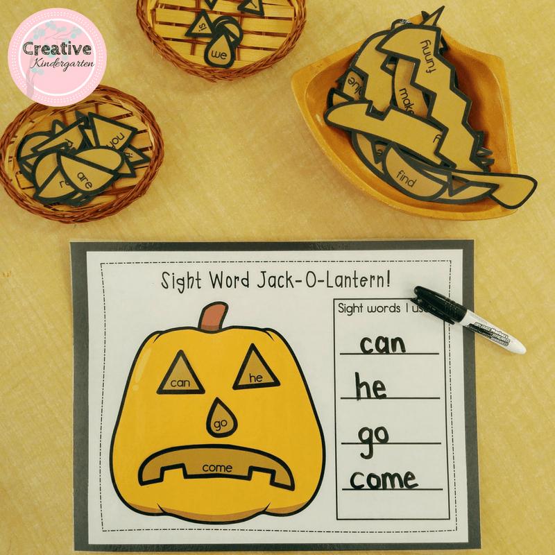 Reinforce sight words with this fun, hands-on activity. Jack-o-Lantern sight word building for halloween. #literacy #kindergarten #creativekindergarten