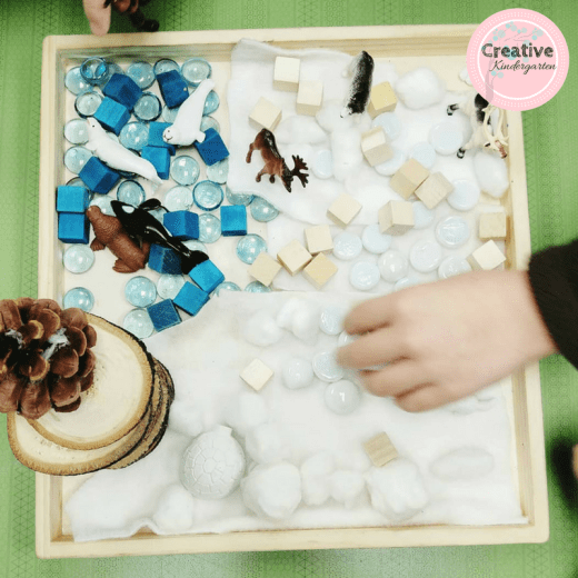 Arctic small world play with loose parts for kindergarten unit on animal habitats