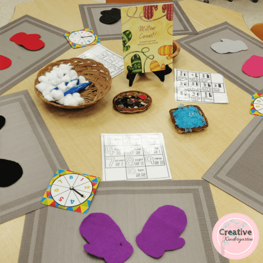 Math loose parts center for kindergarten winter center. Add mittens for a fun twist