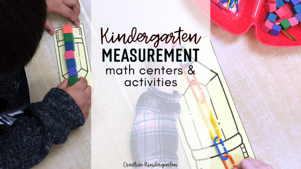 Measurement math centers for kindergarten with a free poster download. Hands-on and engaging activities to practice non-standard measurement.