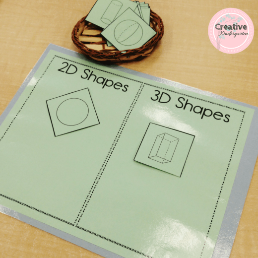 Sorting 2D and 3D shapess game and activities. Kindergarten math center to practice and review 3d shapes with this fun, hands-on center
