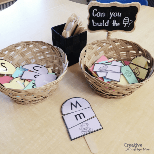 uppercase, lowercase and beginning sound match literacy center for kindergarten