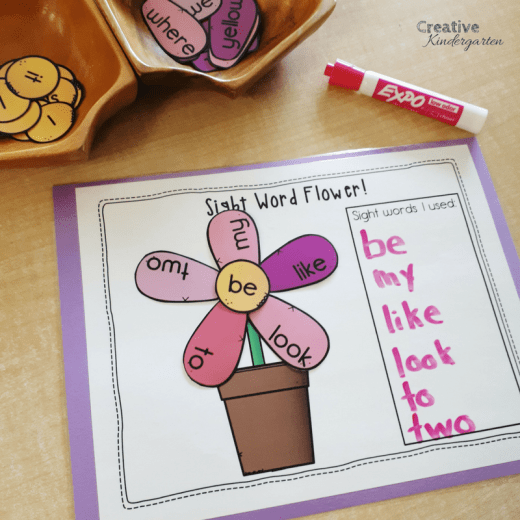 Build a sight word flower literacy center for sight word recognition and spelling. Fun literacy center idea for kindergarten play-based learning.