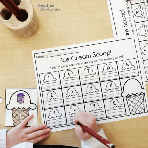 Work on identifying ending sounds with these fun, play-based kindergarten activities and centers to work on phonics