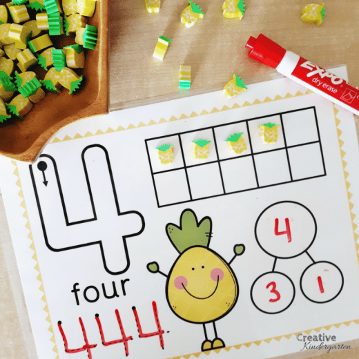 pineapple number mats to work on number sense, number formation and decomposing numbers for kindergarten math centers.