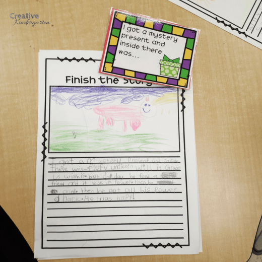 Finish the Story writing center for kindergarten writer's workshop. Have students practice writing stories and making sure they have all the story elements they need.