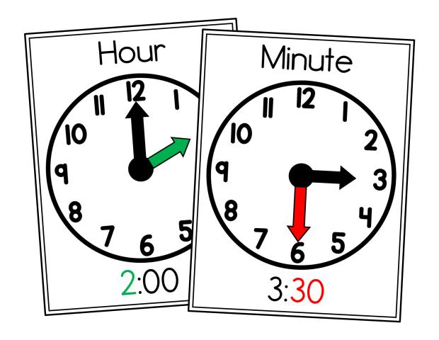 **Poster FREEBIE** Teaching time in kindergarten with hands-on, fun centers and activities. Perfect for math centers to teach time to the hour and half-hour.