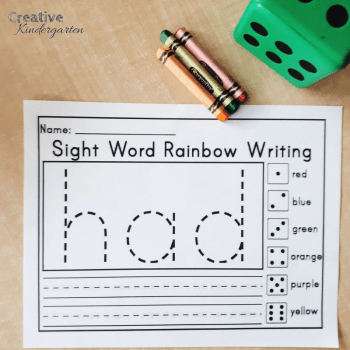 Kindergarten sight word literacy centers to practice sight word recognition and spelling. A fun and easy way to work on sight words the whole year.