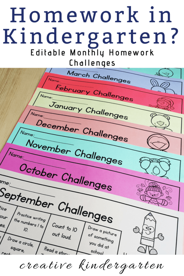 Kindergarten homework made easy! Find a simple and effective way to do homework in kindergarten with these printable and editable homework calendars. #creativekindergarten #kindergartenhomework #homeworkprintable #kindergartenhomeworkprintable