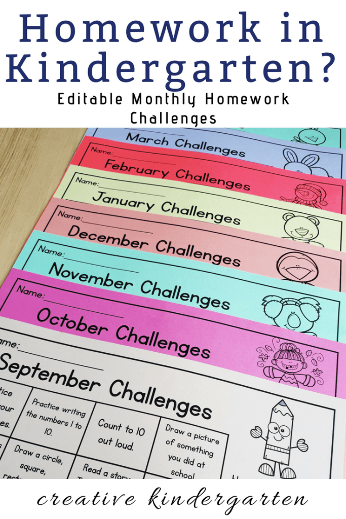 Editable monthly homework challenges calendar for kindergarten.
