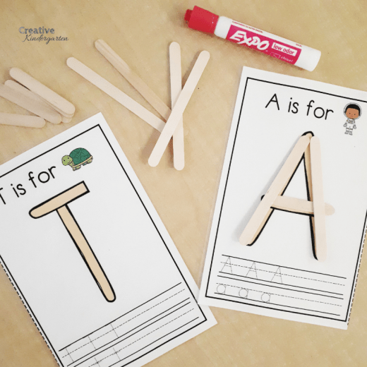 Popsicle stick letter formation and letter recognition work mats for kindergarten literacy centers of morning work bins.