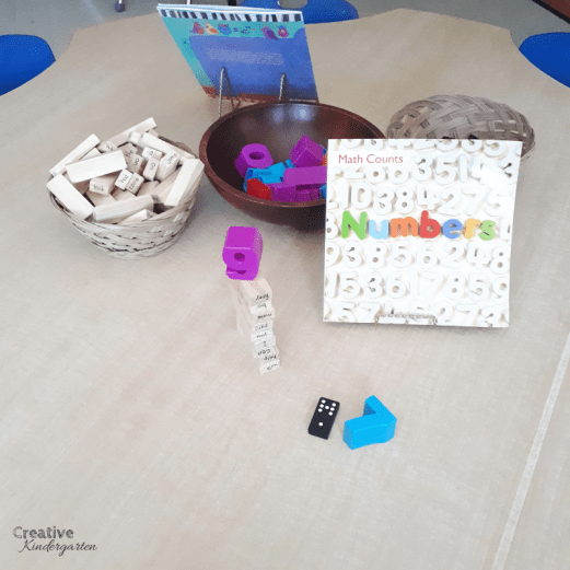 Number provocation for math centers for kindergarten one-to-one correspondence. A fun, play-based center to practice counting and number recognition.