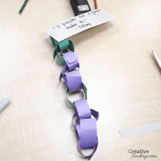 How to teach students to Make 10. Decompose numbers with this hands-on math activity. Make paper chains to practice making ten in different ways. Work on making 10 with this fun math center for kindergarten.