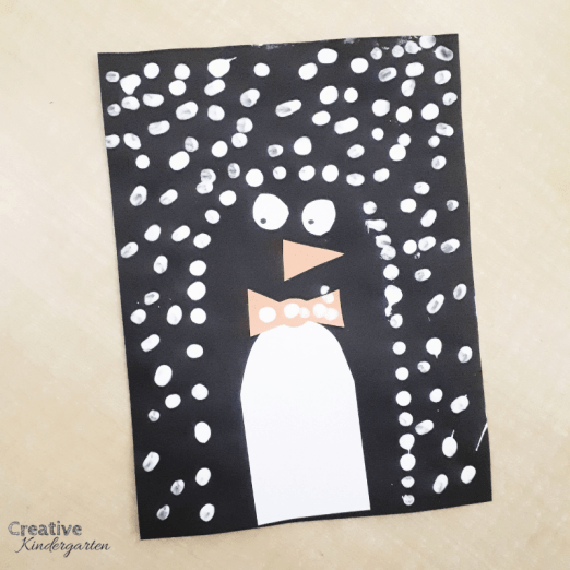 Penguin art project for kindergarten pointillism winter art project