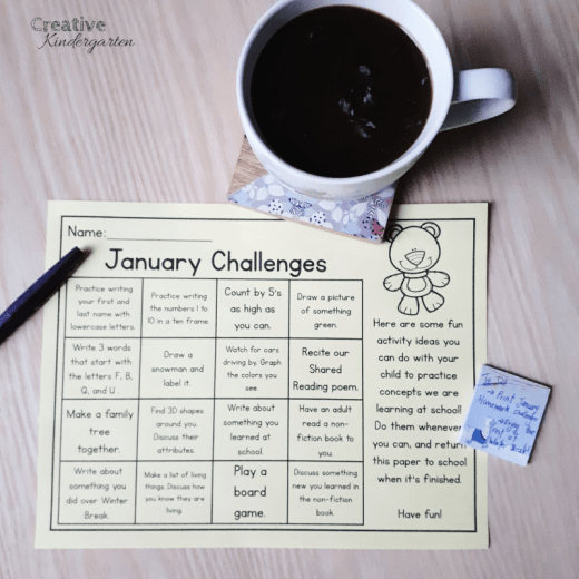 January homework challenges for kindergarten. Editable monthly activities to send home to families to work on skills students are learning at school.