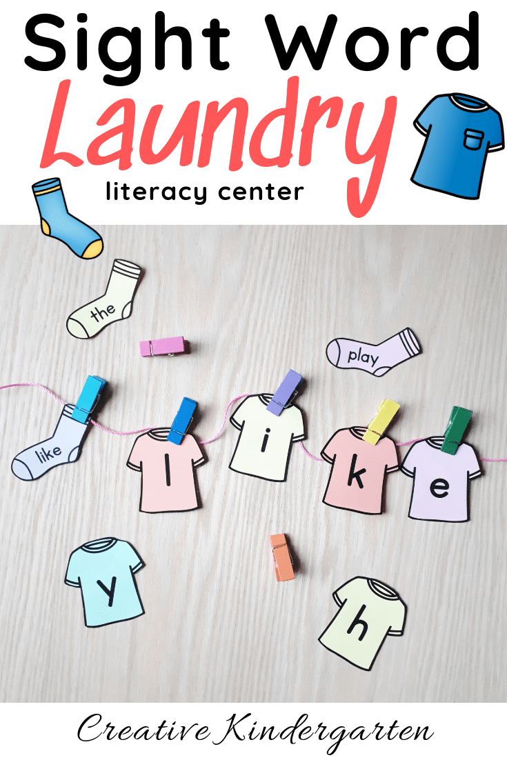 Sight Word Laundry literacy center for kindergarten sight word spelling and sight word recognition practice. Use it for morning work, literacy center, morning tub. A fun, hands-on kindergarten activity that also works on fine motor skills.