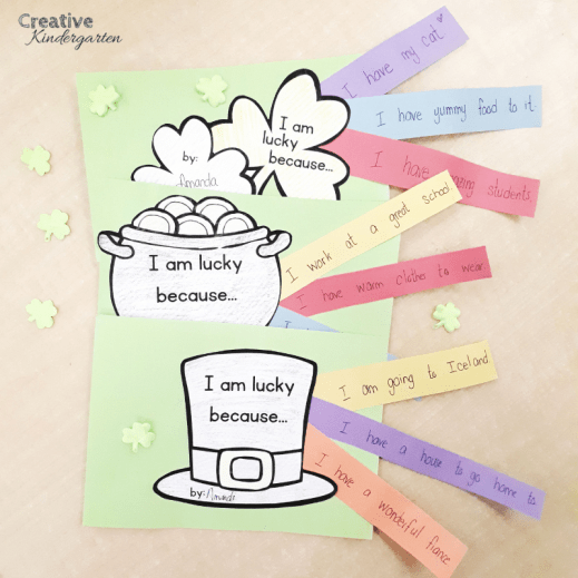 Saint-Patrick's Day writing prompts for kindergarten creative writing activities. A fun writing center that is perfect for St-Patrick's Day.