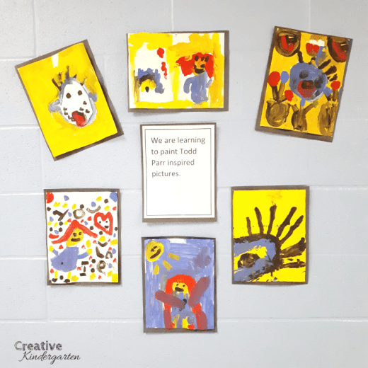 Todd Parr inspired art for kindergarten using primary colors.