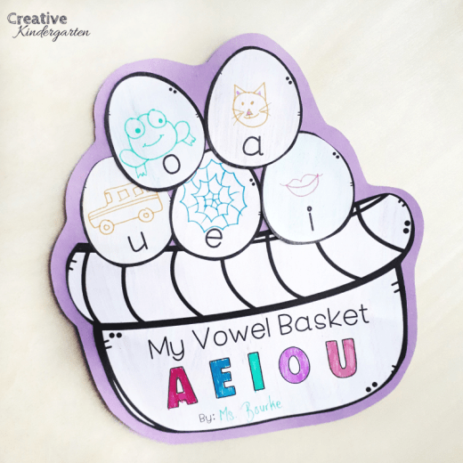 Vowel Easter Basket literacy center for spring. Reinforce short vowels with this fun craft for kindergarten or Grade 1.